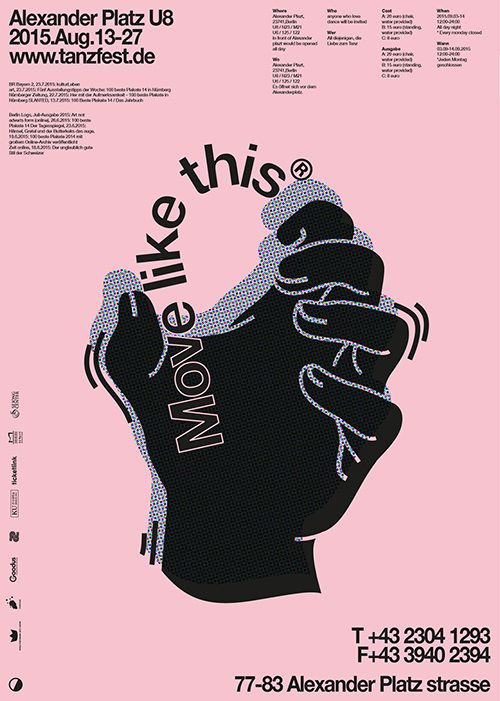 "#poster by Soojin Lee; I love how the shape of the words ""Move like this"" is expressing the content of the words. The words are treated as an object being bent by the illustrated hand. Also, the small texts around the center help the viewer focus and be drawn to the biggest and the most important elements, the hand and ""Move like this."""