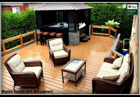 Ideas Creating Relaxing Feeling with Hot Tub and Pool in Patio Design - Backyard fire pit and hot tub ideas
