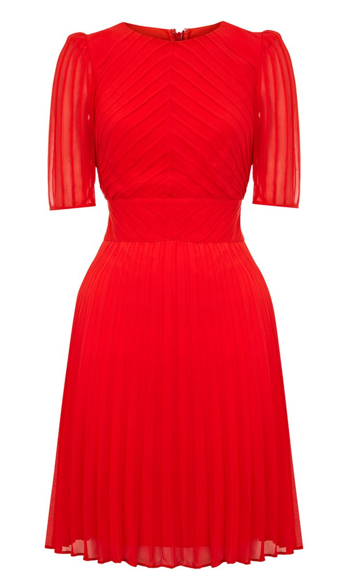Karen Millen Pintuck Cute Dress Red