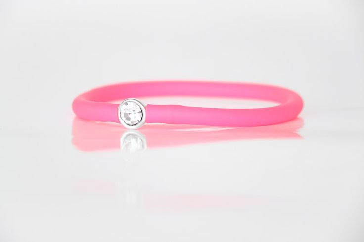 Diamante Bracelet with Pink Tube Strap. Unique handmade jewellery in Johannesburg, South Africa.