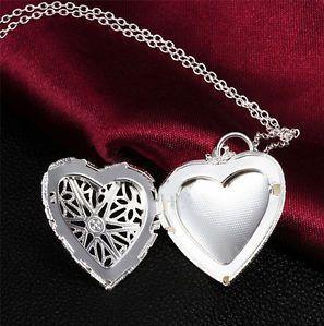 Купить товар2015 новый стерлингового серебра 925 ювелирные изделия в форме сердца фото медальон ожерелье кулон день святого валентина подарок для женщины девушка в категории Цепина AliExpress.
