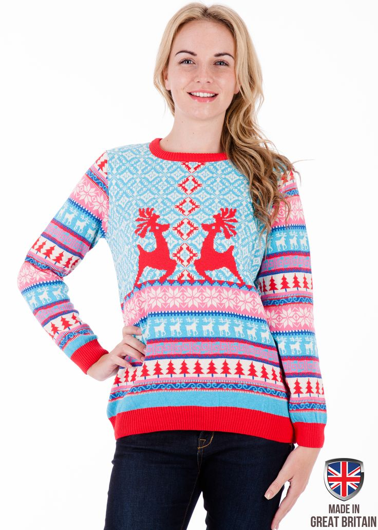 A bright and distinctive Fine Knit Christmas design for anyone who loves to look stylish and fashionable on Christmas morning. Slip this on and the festive spirit will be right there in your home ready for the big day. This jumper will meet all expectations, including being really Christmassy.  http://britishchristmasjumpers.com/products/dancing-stags-womens-christmas-jumper-sweater-xmas