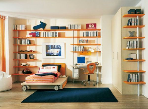 Orange Blue carpet bed lamp room young man teen design shelf curtain window Desk Chair picture PC