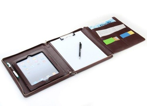 The new iPad Carrying Case with Notepad Leather Portfolio for iPad 3