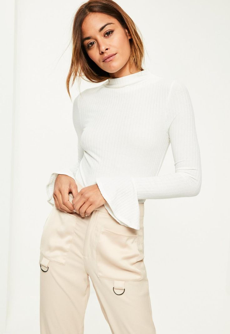 Missguided - White High Neck Ribbed Flare Sleeve Bodysuit