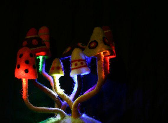 Psychedelic decoration felted magic mushroom lamp lampshade trippy goa night light
