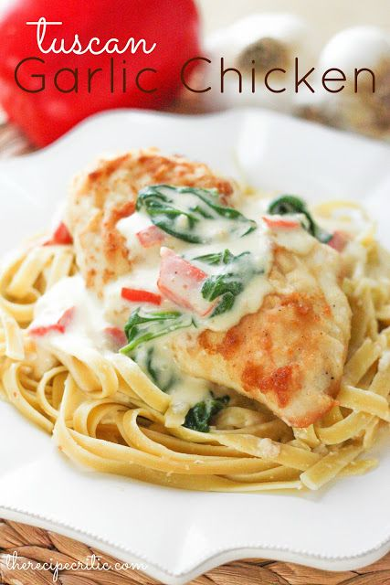 Tuscan Garlic Chicken at ~ A delicious meal that tastes just like it is from The Olive Garden!  Yum!
