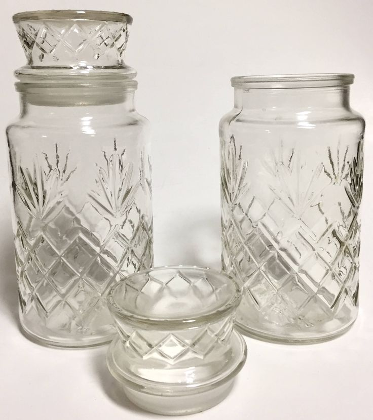 Vintage Pressed Glass Canisters | Jars Planters Peanuts Collectible Jars Kitchen Decor SET OF TWO by YatsDomino on Etsy