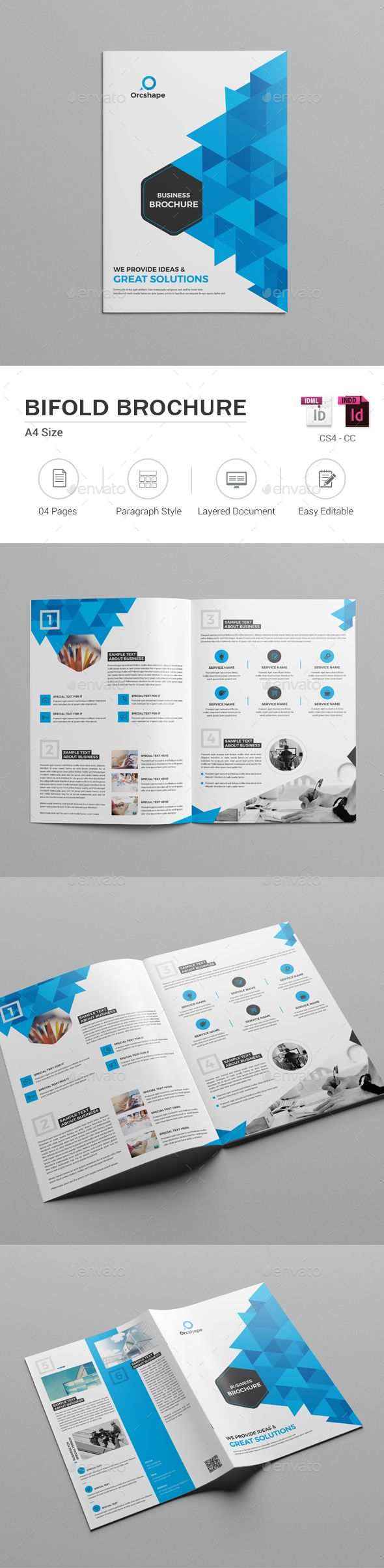 Bifold Brochure Corporate Bifold Brochure Template can be used for any business purpose or others sector. This template is perfect for your business promotion, so you can easily capture the attention of your clients. Also, you can use this template as newspaper, magazine etc.