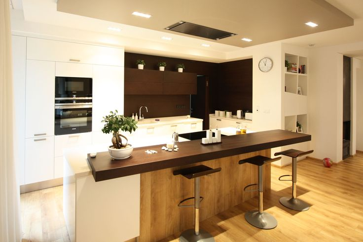 elegant kitchen - white paint, wenge veneer