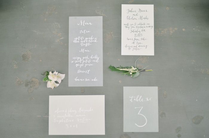 Dusty grey #wedding #invitations // Photography Byron Loves Fawn, Calligraphy Cotton Blossom.