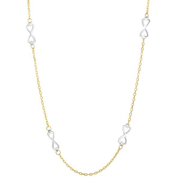 14k 2 Tone Gold Sideways Infinity With Double Heart Necklace