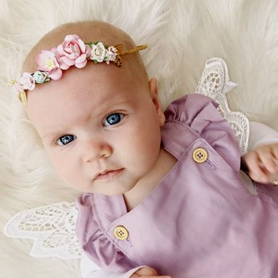 http://lillyandlace.com.au/product/custom-baby-floral-tieback-headband/ Pink white and gold baby flower tieback headband