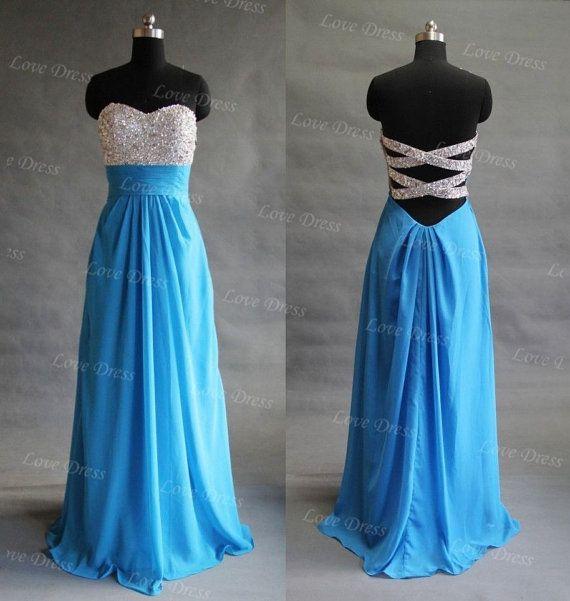Glamorous High quality beads Chiffon satin Prom Dress/graduation dress/blue dress/evening dress/party dress $186.99