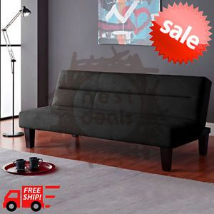 Dorm-Furniture-Room-Living-Mattress-Lounger-Modern-Black-Microfiber-Bed-Couch-FS
