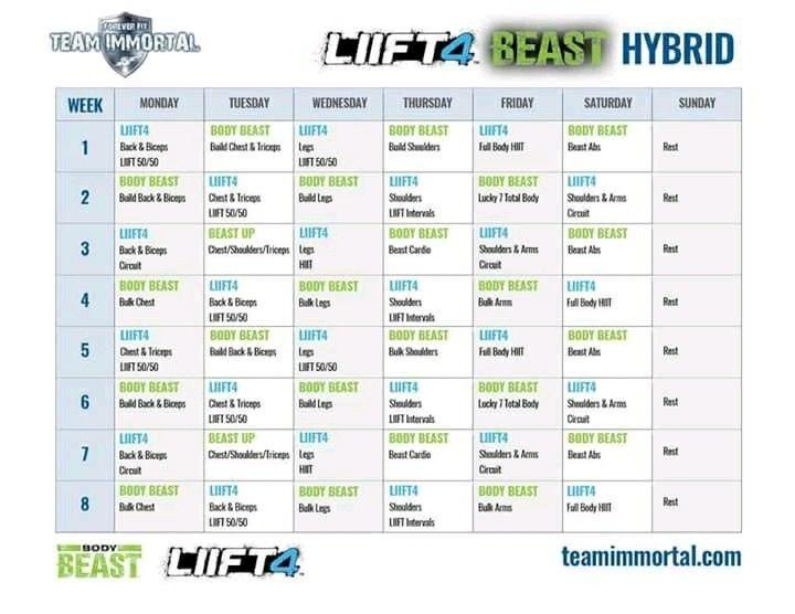 Liift 4/Beast Hybrid Calendar | Body beast hybrid, Body beast ...