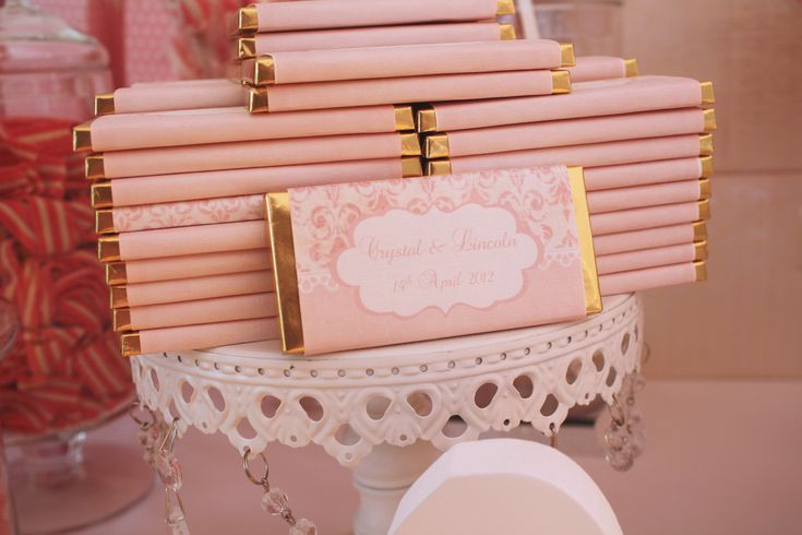 Personalised vintage pink chocolate bar wrappers for Wedding