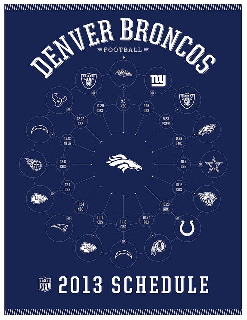 Denver Broncos 2013 Schedule...so ready for the Texans game, can't wait to be there!!