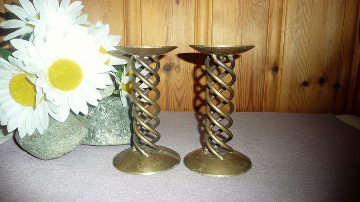 Pair Vintage Solid Brass Spiral Candle Holder Antique Twist Candlestick Holder Pilar Home Decor by Grandchildattic on Etsy