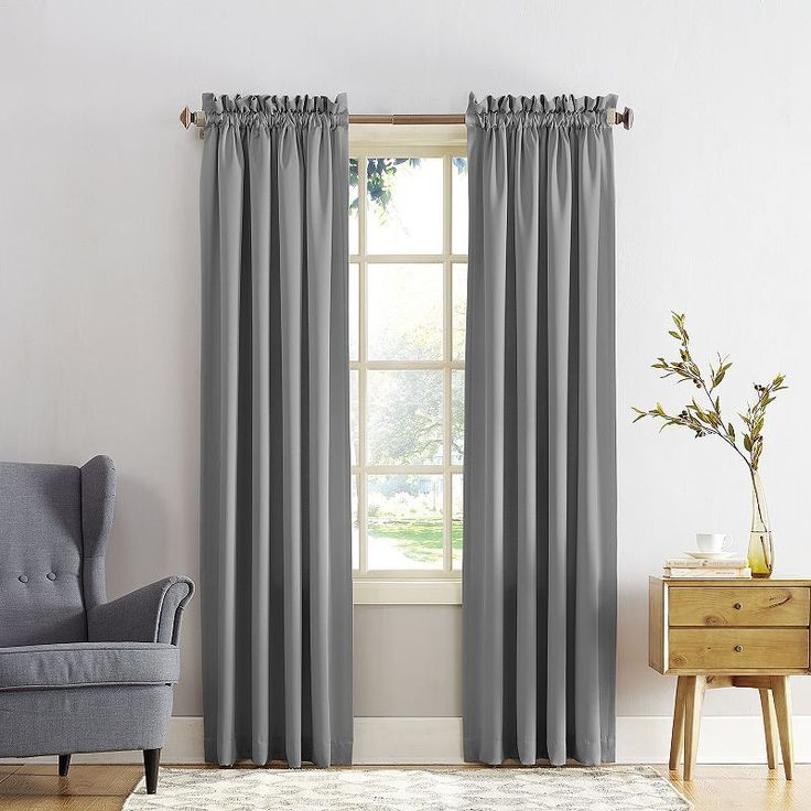 Sun Zero Gramercy Room Darkening Curtain, Grey