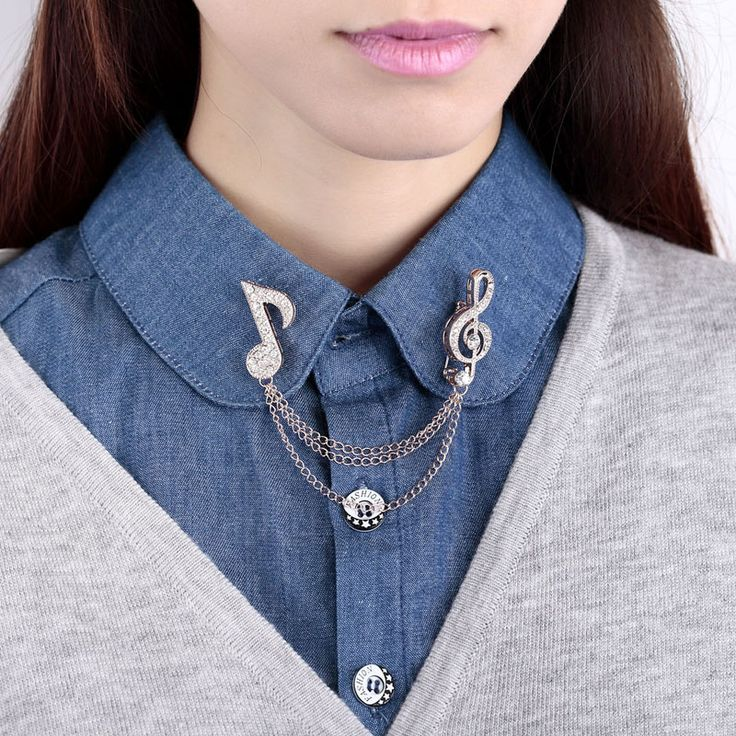 Vintage Personalized Silver Gold Crystal Blouse Shirt Collar Pin Brooch Music Note Men Women Neck Tip Accessaries Cheap