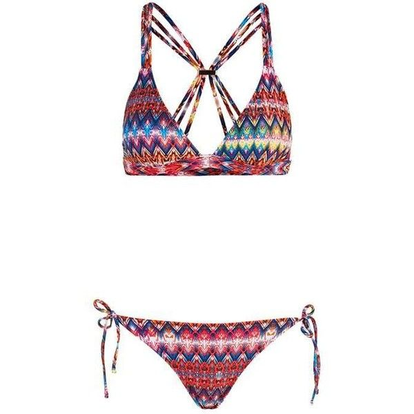 Bright Aztec Triangle Bikini Top and Bottoms ($47) ❤ liked on Polyvore featuring swimwear, bikinis, bright colored bikinis, triangle swim top, topshop bikini, triangle swimsuit top and triangle bikini