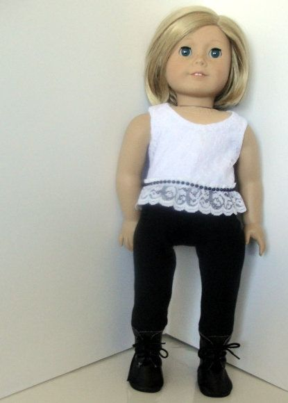 6ee4a66afa073 Black and white 18 inch lace top and black leggings. Fits 18 inch dolls  like American girl. American handmade.