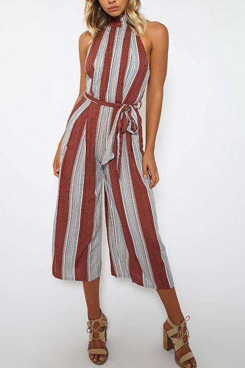 Sexy Halter Stripe Backless Sleeveless Self-tie Design Jumpsuit