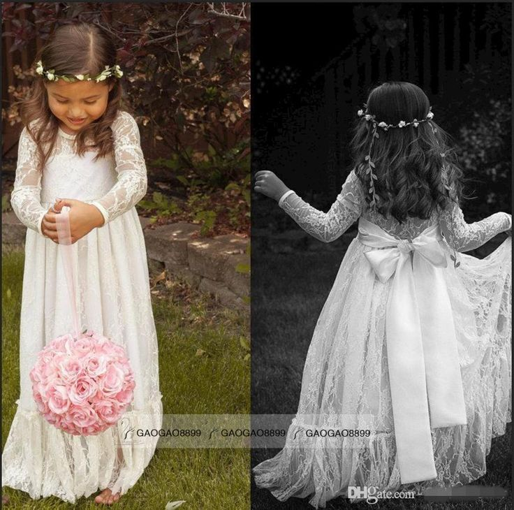 Princess Dress For Girl 2015 Cheap Long Sleeve Lace Flower Girl Dresses Jewel White A Line Floor Length Baby Formal Occasion Skirt First Communion Bridal Gowns Cute Alfred Angelo Flower Girl From Gaogao8899, $56.55| Dhgate.Com