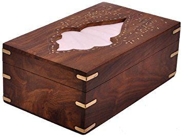 IndiaBigShop Raksha Bandhan Gift Rectangular Wooden Tissue Box Cover Dispenser with Decorative Brass Inlay- Artisan-Crafted Elegant Wooden Kleenex Tissue Box Holder