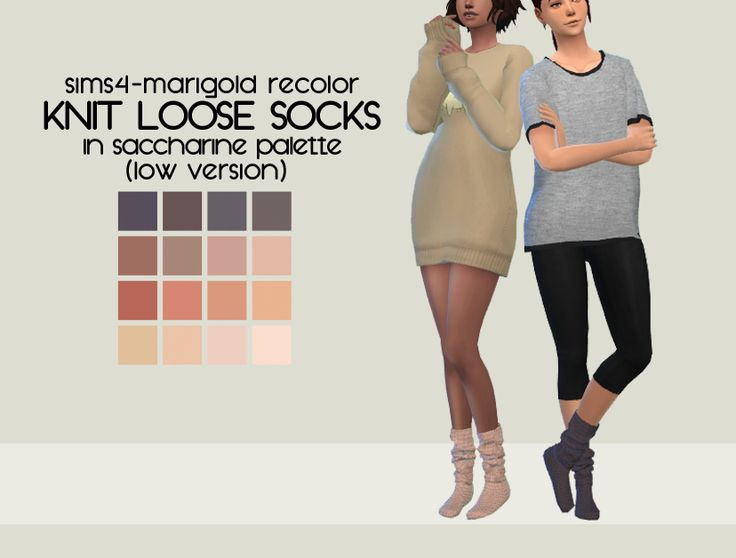 @sims4-marigold Knit Loose Socks (low version) Recolored And hey, for those of you who like things on the natural side, have some more socks! Again, only low version for now, might do the high version...