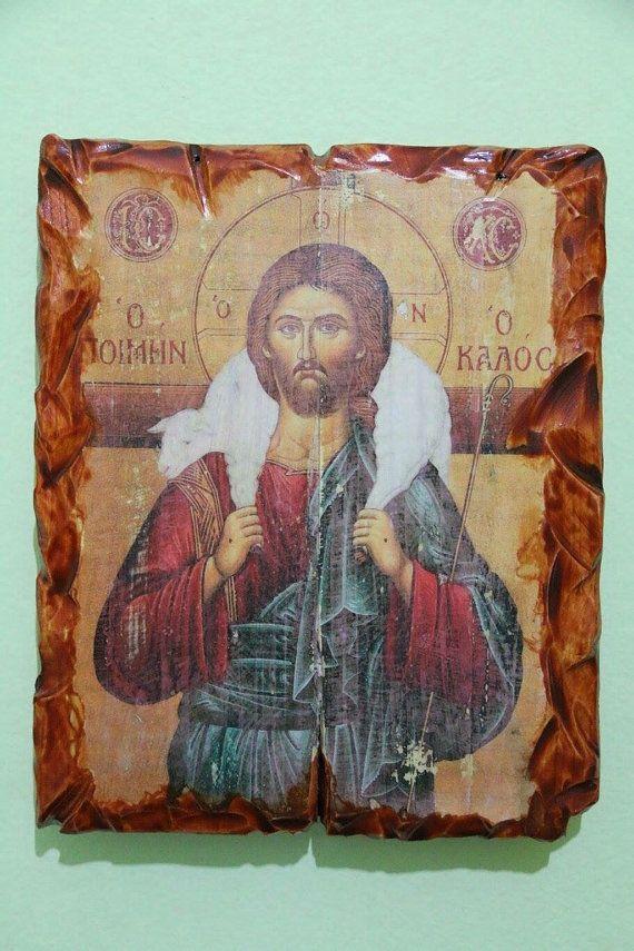 Jesus or Jesus Christ (Good Shepherd). Handmade in Hellas-Greece Dimensions: 7,85 x 11,80 inches / 20 x 30 cm
