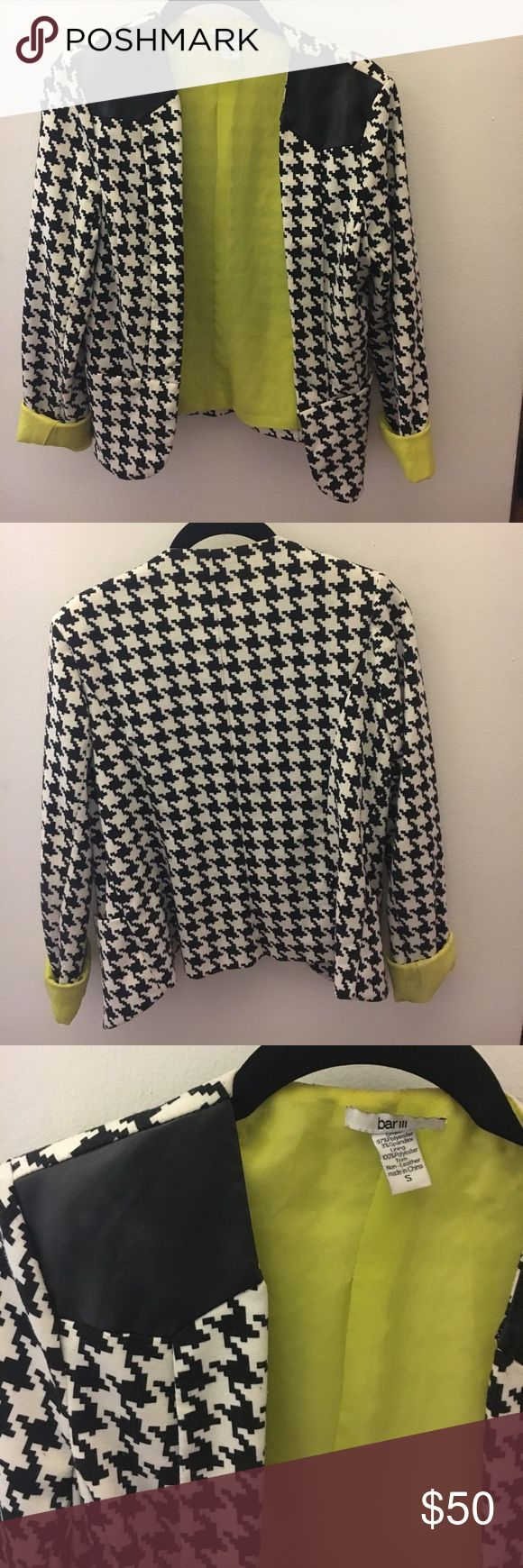 Funky houndstooth blazer Black and white houndstooth blazer with bright green lining. Can fold sleeves to make lining visible or not. Faux leather shoulder pieces, two front pockets, no front closure. Worn only a few times. Bar III Jackets & Coats Blazers