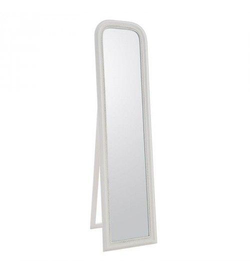 POLYRESIN FLOOR MIRROR IN ANTIQUE WHITE COLOR 40X3X160