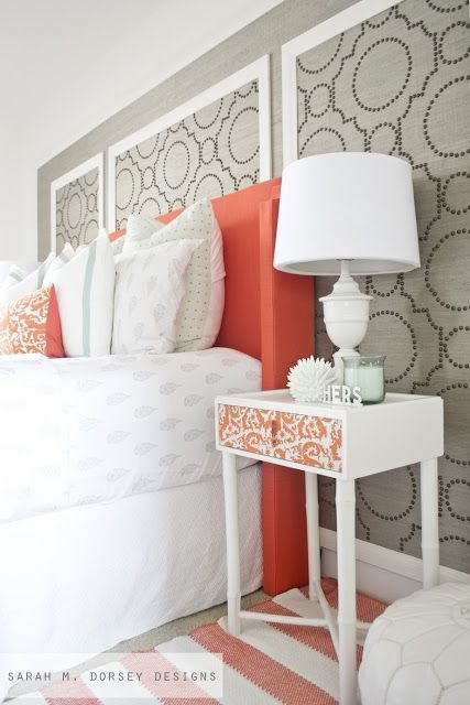 Gray and Coral Bedroom Inspiration Large wooden frames for wall with fabric and designs to add color and pattern to the plain white walls