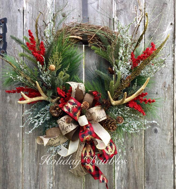 holiday christmas antler wreath - 736×793