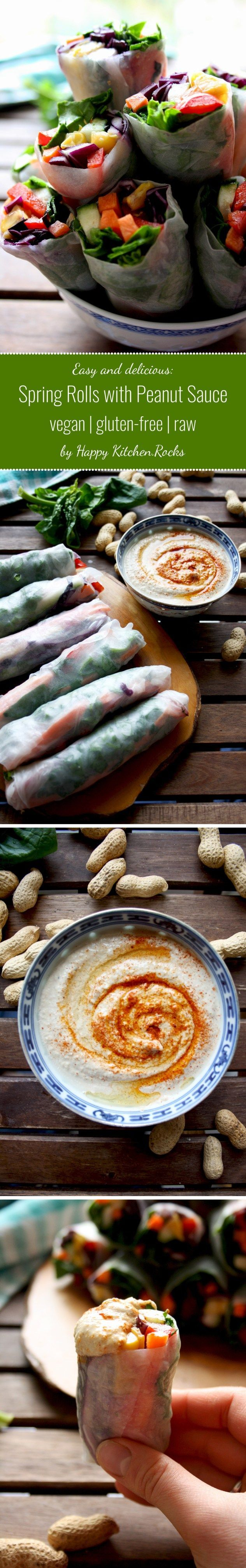 Easy Vegan Spring Rolls with Peanut Sauce: Satisfying and versatile snack loaded with veggies and dipped in delicious peanut sauce with ginger and garlic. Gluten-free, raw, low carb! #glutenfree #vegan #vegetarian #springrolls #rawvegan #raw #peanuts #vegetables #veganrecipes #healthyrecipes #recipes #recipe #food