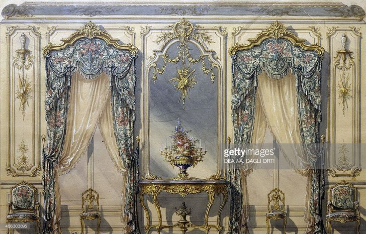 Design of the Rococo style decor for a living room, 1874, gouache by G. Felix Lenoir.