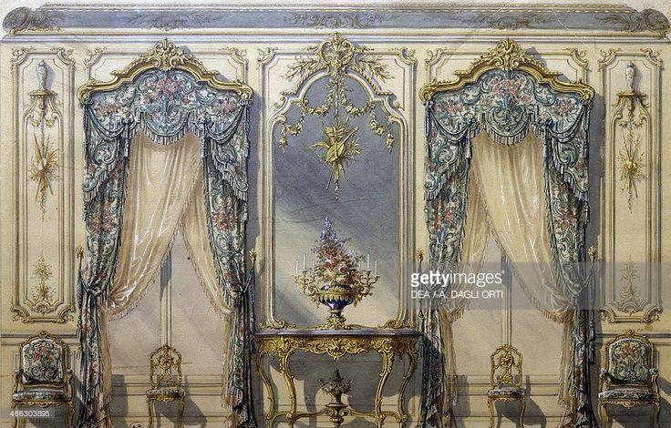 Design of the Rococo style decor for a living room, 1874, gouache by G. Felix Lenoir.