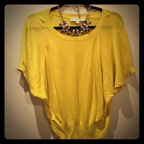 "LOFT Yellow Short sleeve Sweater Preowned top from Loft. It's been worn twice only. Total length of top 20"". It's 95% Viscose, 5% silk. LOFT Sweaters"
