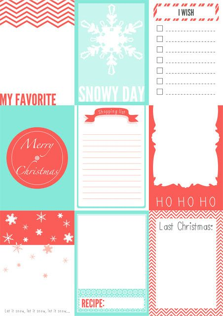 Free Christmas printable journaling card set.