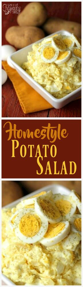 This Homestyle Potato Salad recipe is tried and true. It comes straight from Mom's recipe box and is always polished off at our family gatherings. via @favfamilyrecipz