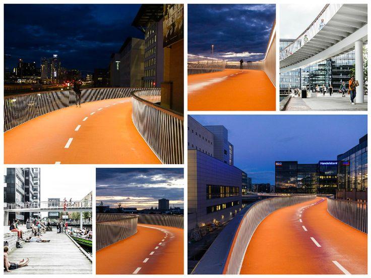 """Nasce a #Copenaghen la """"Cykelslangenla"""", una sopraelevata dal color arancio accattivante che, con la sua forma sinuosa, si snoda come un serpente, collegando il quartiere Kalvebod Brygge a Island Brygge. Realizzato ad un'altezza di 18 metri sul livello stradale, il percorso è lungo circa 235 metri."""