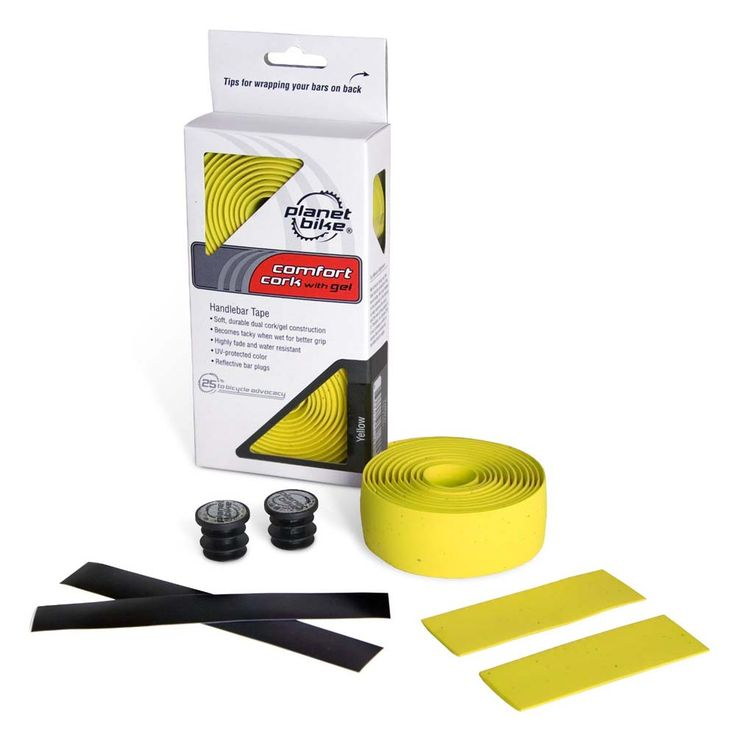 Planet Bike Handlebar Tape YELLOW Comfort Cork with Gel (Includes Reflective Bar Plugs): Soft, durable… #Sport #Football #Rugby #IceHockey
