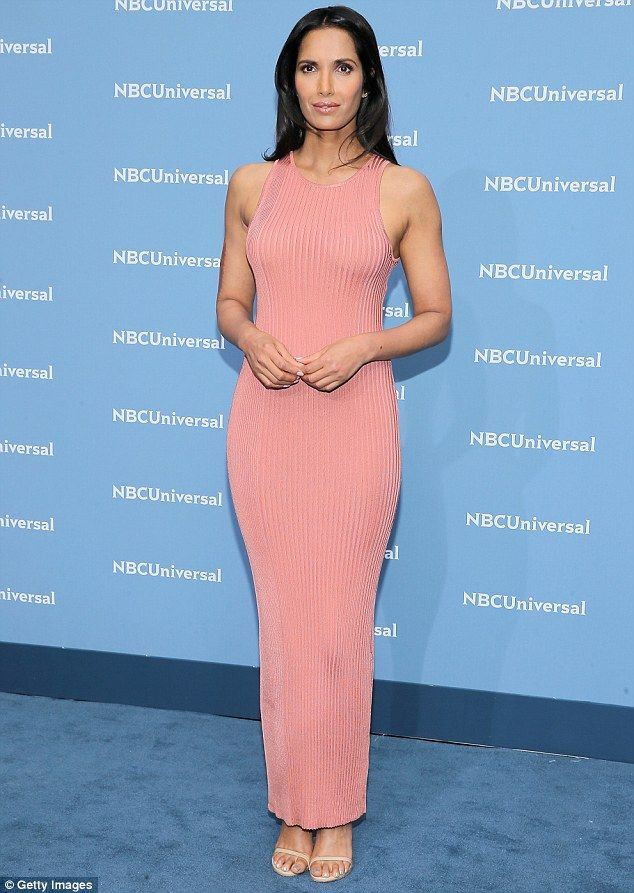 Hour-glass: The Top Chef host's figure was on display although her dress covered her up. The sleeveless design revealed Padma's toned arms while the floor-skimming dress nearly concealed a pair of nude heels