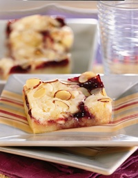 Razz Ma Tazz Bars - they didn't look exactly like this after they were cooked but they are delicious - use any jam you want. Sheli