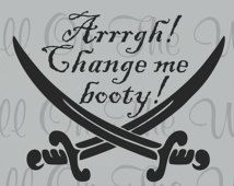 Pirate Wall Decal Baby Nursery Changing Table Pirate Theme Baby Boy Baby Girl Decor Change Me Booty Swords Vinyl Lettering Wall Stickers
