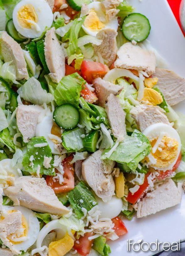 Healthy Chef Salad - iceberg lettuce, English cucumber, tomatoes, eggs, chicken breast, low fat cheese of choice, dressing (buttermilk, nonfat Greek yogurt, fresh dill, black pepper, salt, garlic powder)