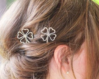 Silver Four Leaf Shamrock Bobby Pins, Set of Two, Four Leaf Clover Bobby Pin, Silver Shamrock, Four Leaves, Luck of the Irish