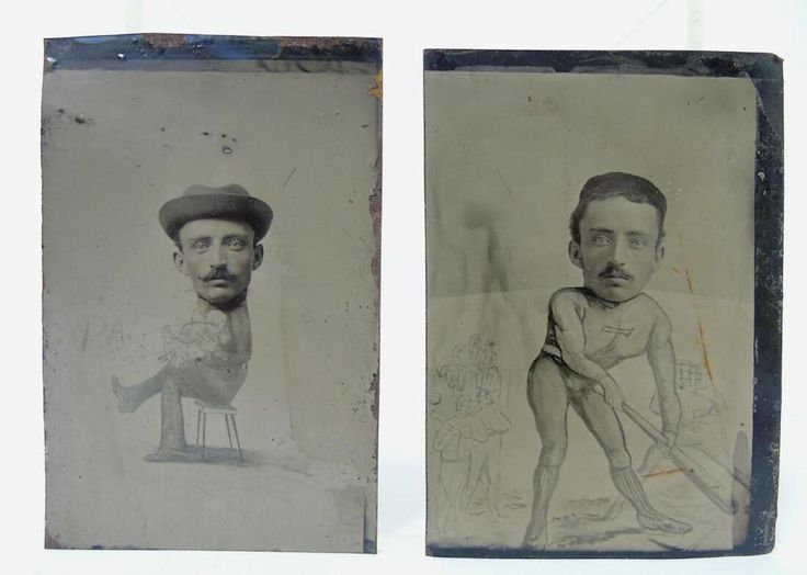 RARE TINTYPE CARTOON CARICATURE HUMOROUS MUSCLE BASEBALL GUY & GUY HOLDING BABY